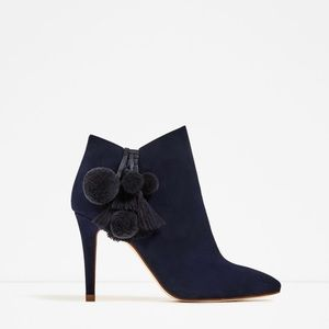 Zara Leather High Heel Ankle Boots with Pompoms